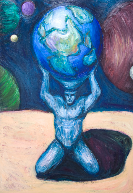 Atlas glaring at Heracles taking the golden apples and running away :Greek mythology theme, visionary, narrative scene, muscular male body symbolism, earth symbolism, sphere pattern, acrylic painting