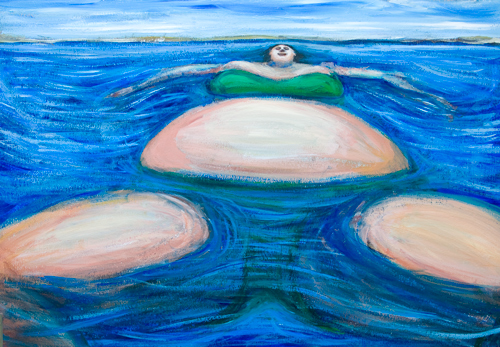 Floating Giant Fat Woman in her favorite Green Bikini :blue sea water scenery painting, massive human body, plump feminine portrait, seascape, blue color symbolism, daily scene, expressionism,  woman body form symbolism, #8766, 2009
