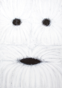 The Real Front Face of the Abominable Snowman, or the Yeti : abstract white on white cryptid creature portrait, abstract mask, abstract face, white surrealism, acrylic painting