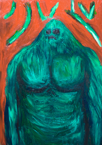 The Green Golem with the ancient spell :complementary color green monster painting, Jewish Judaism mythological legendary creature portrait painting