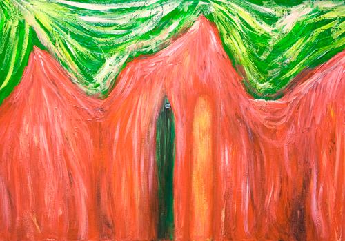 The Doorkeeper before the law (Kafka,'The Trial') : New, expressionism, literature theme, surreal expressionism, complementary colors, abstract surrealism painting #9107, 2010