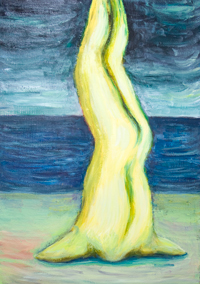 Yellow Crucifixion on the beach: new surreal Christianity symbolism seascape painting, odd, strange, weird scene, upside-down human body, religious allegory, narrative, abstract human figure, surrealism seascape, dark, surrealism strange scene,acrylic painting #9154, 2010 | Kazuya Akimoto Art Museum