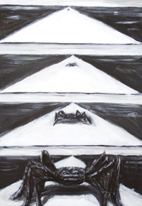Something Evil This Way Comes : black and white surreal sequential art painting, Japanese four-frame manga style, four frames in sequence, surreal comic style painting, black and white, surrealism, storyboard pattern, subcultural style acrylic painting #9190, 2010 | Kazuya Akimoto Art Museum