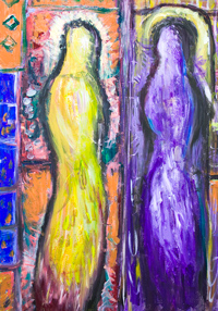 The Abstract New Annunciation : new contemporary Christianity biblical Art painting, complementary colors, colorful classical theme, abstract religious symbolism, abstract human figures, light symbolism, abstract Mary, abstract angel Gabriel, virgin conception, Immaculate Conception theme, acrylic painting #9315, 2010 | Kazuya Akimoto Art Museum