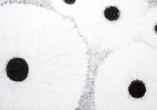 Abstract White Flower Pattern : abstract flower painting, abstract white circle pattern, abstract botanical pattern, white on white, black and white minimal symbolism, flower pattern symbolism, natural symbolism, radiation, abstract white, acrylic painting #9595, 2011 | Kazuya Akimoto Art Museum