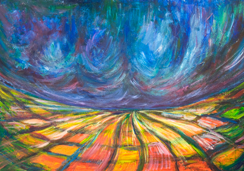 Abstract Colorful Battleground : abstract colorful fisheye landscape painting, abstract warfare, colorful natural pattern, abstract field, abstract distorted fisheye ground pattern, acrylic painting #9641, 2011 | Kazuya Akimoto Art Museum