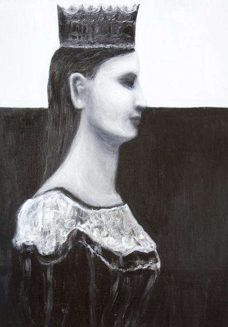 Talk to Me I am the Queen : black and white contemporary female profile portrait painting, contemporary realism, black color symbolism, female symbolism, acrylic painting #9765, 2011 | Kazuya Akimoto Art Museum