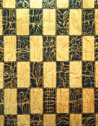 Japanese, traditional, geometric, black and gold, checkered pattern, acrylic painting 2004