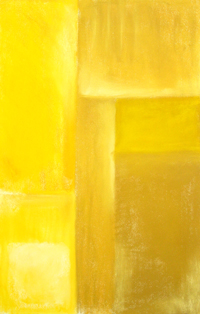 Yellow Cubism : minimal, rectangular, yellow, slightest, cubism, cubist, geometric, rectangle, pastel painting pas100, 2003 | Kazuya Akimoto Art Museum