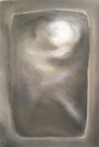 Contemplative Athena : Pseudo-relief pastel image, gray, optical, monotone,  Greek, mythological, abstract human figure, abstract goddess, pastel painting pas133, 2003 | Kazuya Akimoto Art Museum