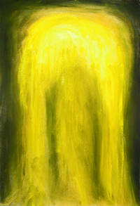 abstract Virgin Mary Apparition theme, yellow color contemporary abstract iconography, yellow color symbolism, religious symbolism, Christianity,contemporary Blessed Virgin Mary portrait, pastel painting pas147, 2003 | Kazuya Akimoto Art Museum