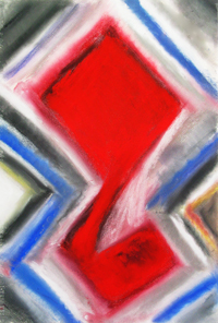 abstract animal pastel painting, abstract red duck, concentric overlapped pattern, pattern symbolism, abstract animal pattern, animal symbolism, red color symbolism, pastel painting pas150, 2003 | Kazuya Akimoto Art Museum