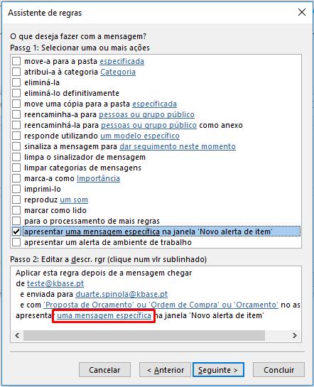 Outlook Criar regra janela novo item