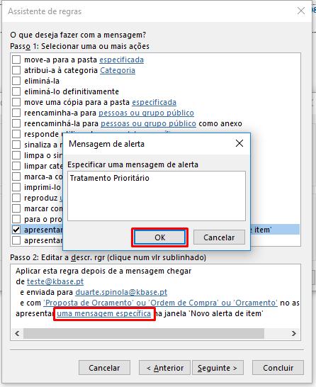 Outlook Regra Janela mensagem de alerta