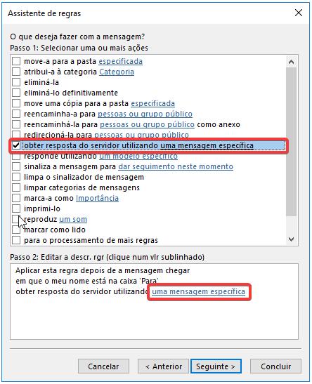 Outlook regra obter resposta do servidor indicar mensagem