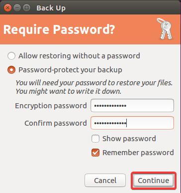 backup ubuntu require password