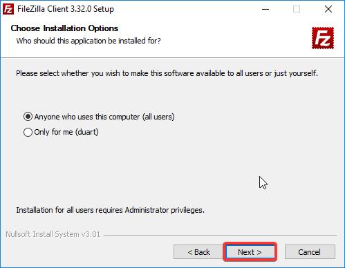 filezilla instalação installed for