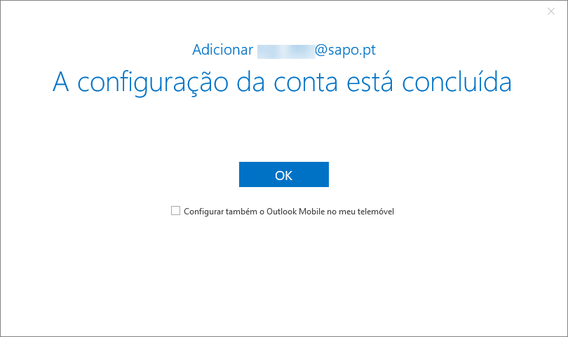 Outlook2016 email sapo conta concluida