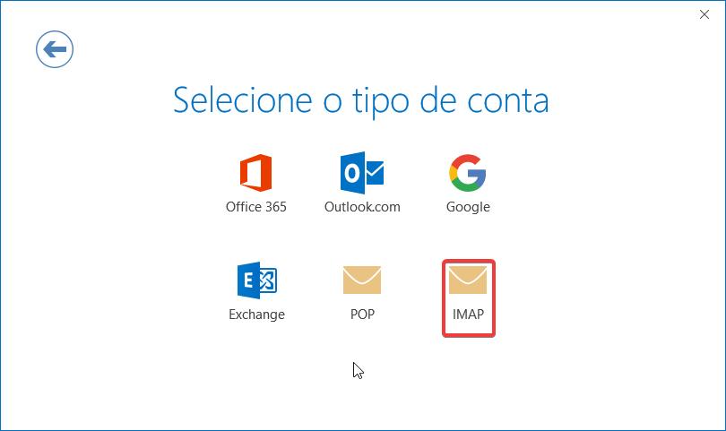 Outlook2016 email sapo selecionar tipo conta