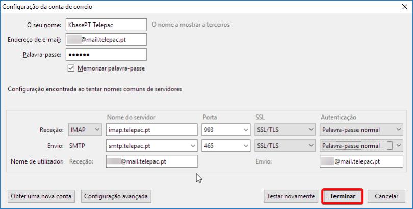 Thunderbird telepac configuração manual da conta