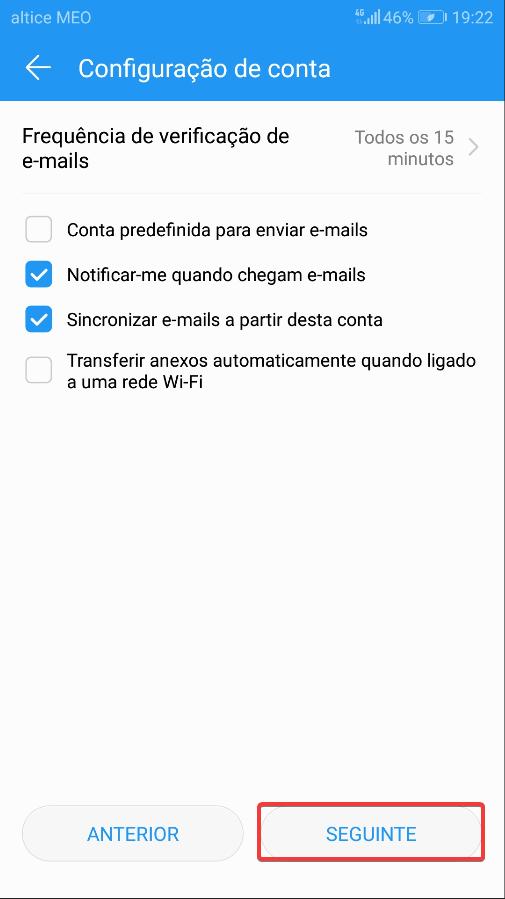 Android mail Frequência de verificação
