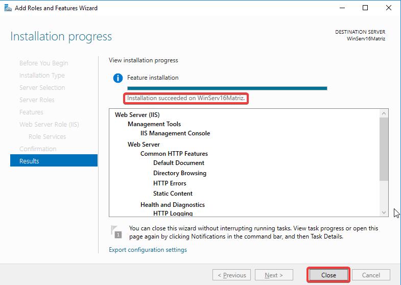 Windows Server IIS - Instalar IIS 10 - Instalação