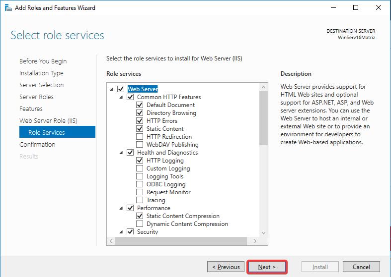 Windows Server IIS - Instalar IIS 10 - Role Services