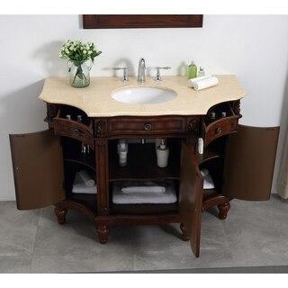 modetti mod110302m napoleon 48 inch bathroom vanity set in brown with cream marble countertop