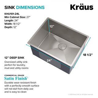 kraus khu101 24l 24 inch undermount 16 gauge stainless steel single bowl laundry utility sink set