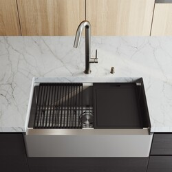 vigo vgs3320fa 33 inch oxford single bowl apron front stainless steel farmhouse kitchen sink with accessories