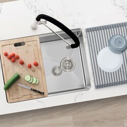 azuni c126l 25 x 19 inch single basin undermount kitchen sink with grid strainer drying rack and bamboo cutting board