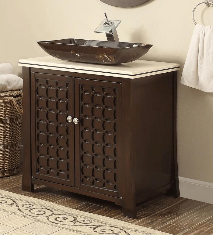 Chans Furniture Hf339a Giovanni 30 Inch Espresso Vessel Sink Bathroom Vanity