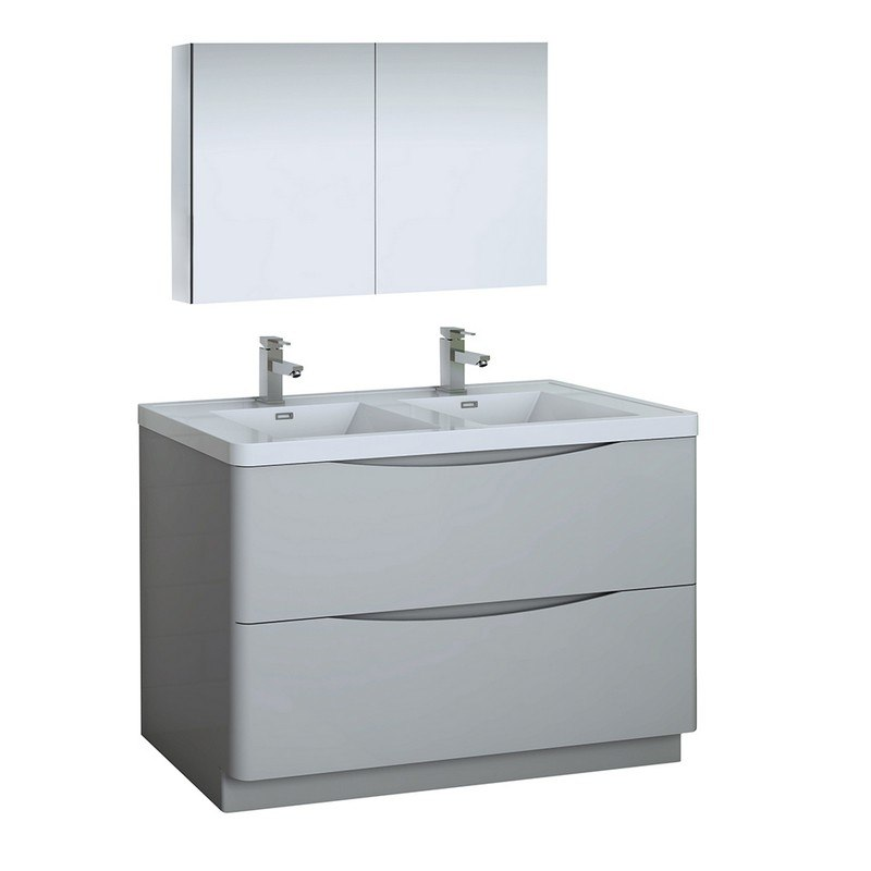 Fresca Fvn9148grg D Tuscany 48 Inch Glossy Gray Free Standing Double Sink Modern Bathroom Vanity With
