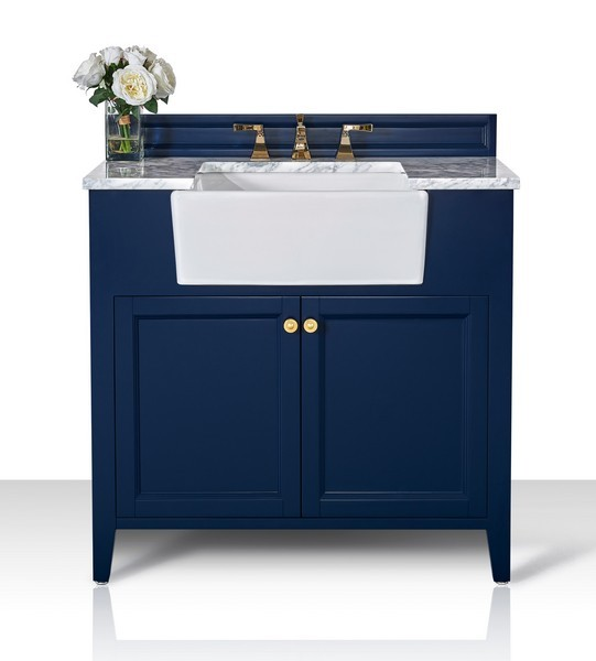 ancerre designs vts adeline 36 hb cw gd adeline 36 inch bath vanity set in heritage blue with italian carrara white marble vanity top and white