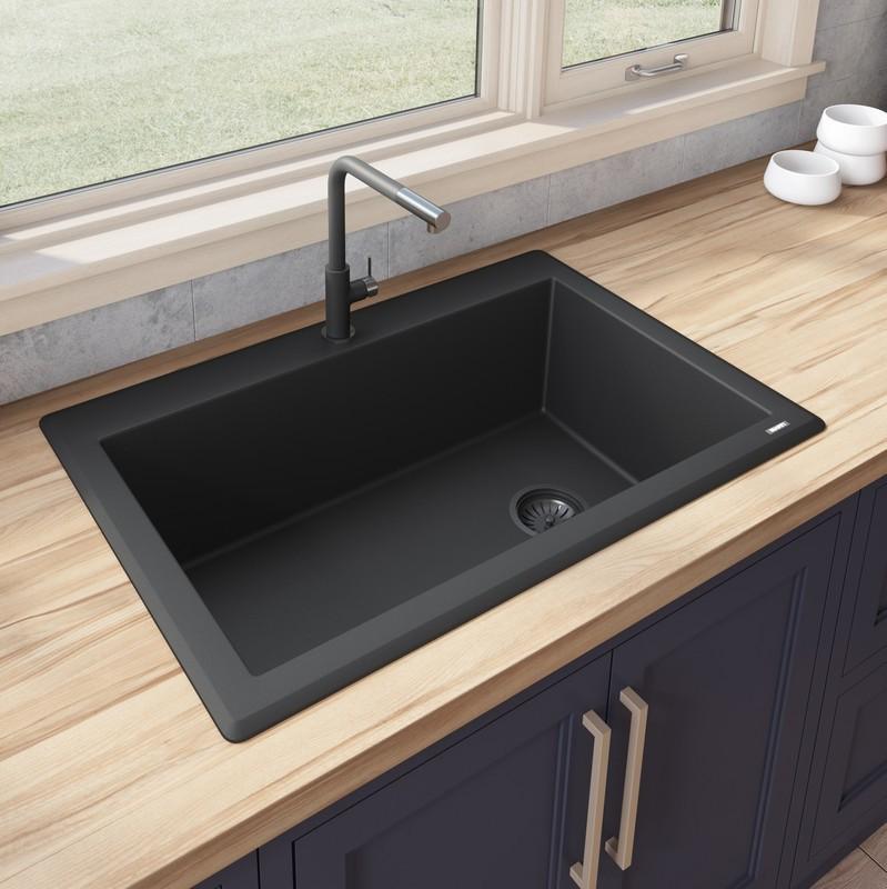 ruvati rvg1033 epigranite 33 x 22 inch granite composite drop in topmount single bowl kitchen sink