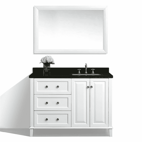 ancerre designs vtsm hannah 48 r w b hannah 48 inch off centered right basin vanity in white with black granite vanity top
