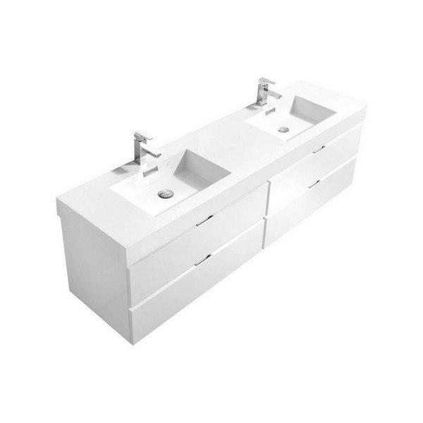 kubebath bsl72d gw bliss 72 inch double sink high gloss white wall mount modern bathroom vanity