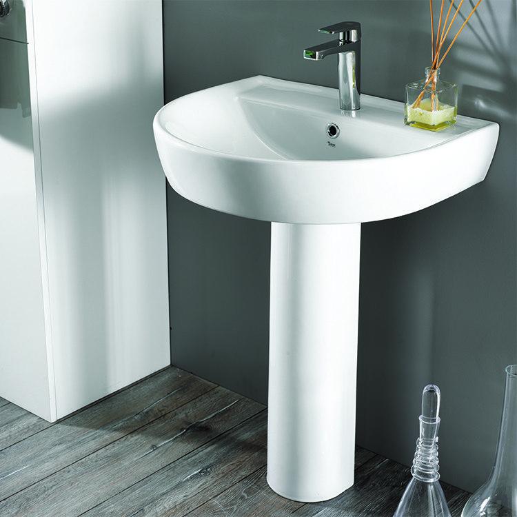 cerastyle 007800u ped bella 24 x 20 inch round white ceramic pedestal sink