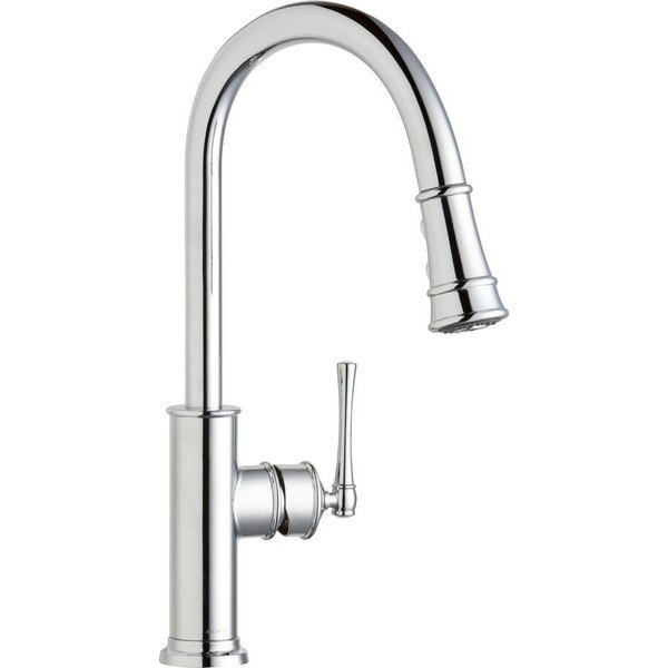 elkay lkec2031 explore single hole kitchen faucet with pull down spray and forward only lever handle