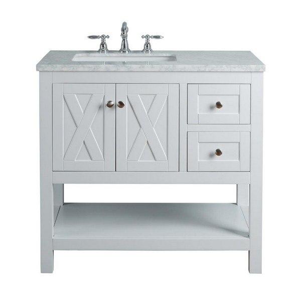 stufurhome hd 1527w 36 cr anabelle 36 inch white single sink bathroom vanity