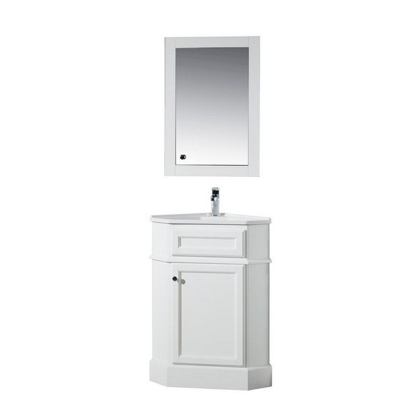 Stufurhome Ty 415pw Hampton White 27 Inch Corner Bathroom Vanity With Medicine Cabinet