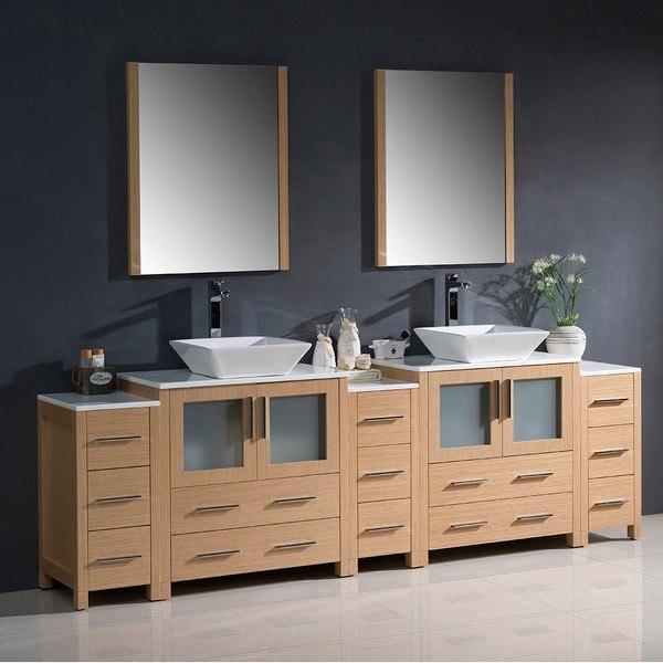 fresca fvn62 96lo vsl torino 96 inch light oak modern double sink bathroom vanity with 3 side cabinets and vessel sinks