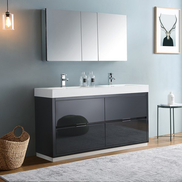 Fresca Fvn8460gg D Valencia 60 Inch Dark Slate Gray Free Standing Double Sink Modern Bathroom Vanity With Faucets And