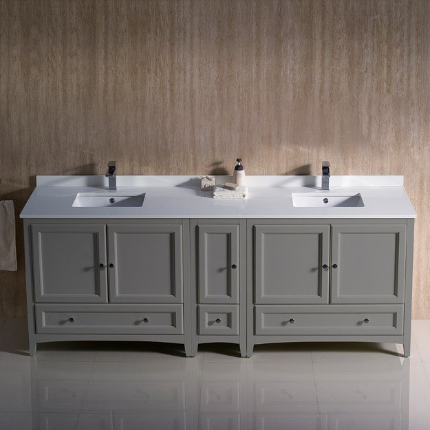 fresca fcb20 361236gr cwh u oxford 84 inch gray traditional double sink bathroom cabinets with top and sinks