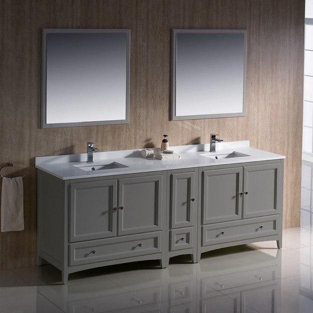 fresca fvn20 361236gr oxford 84 inch gray traditional double sink bathroom vanity