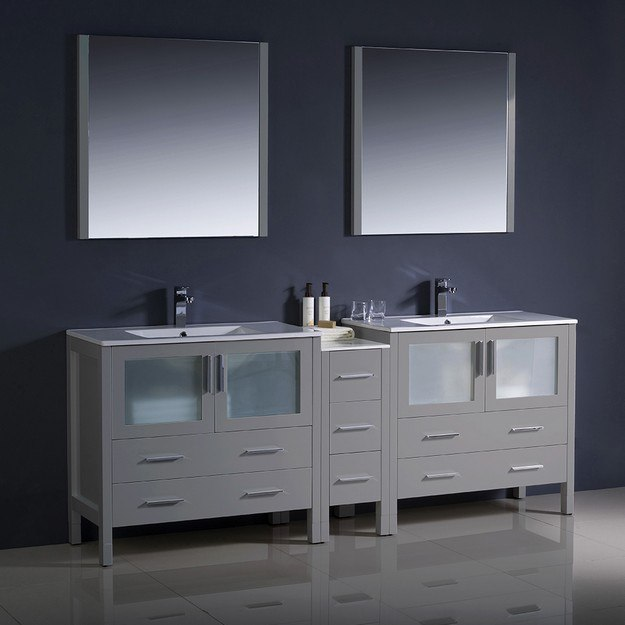 fresca fvn62 361236gr uns torino 84 inch gray modern double sink bathroom vanity w side cabinet and integrated sinks
