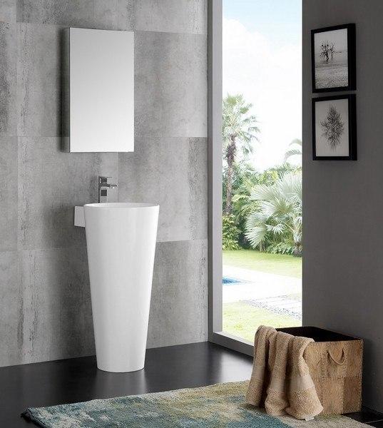 fresca fvn5022wh lucido messina 16 inch white pedestal sink with medicine cabinet modern bathroom vanity