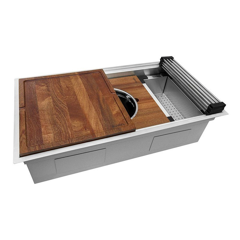 ruvati rvh8222 dual tier 33 x 19 inch workstation two tiered ledge undermount 16 gauge stainless steel kitchen sink