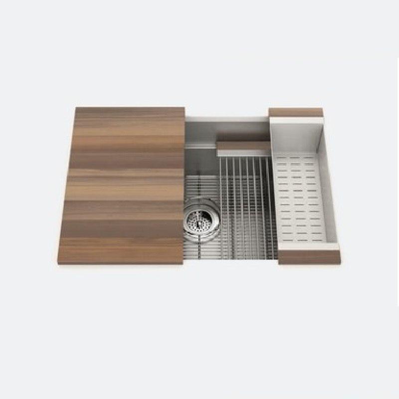 julien 005451 smartstation 28 1 2 19 5 8 10 inch undermount stainless steel kitchen sink in walnut