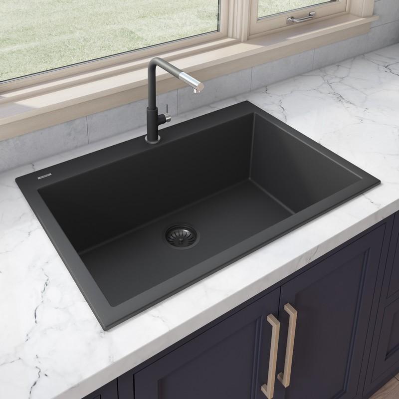 ruvati rvg1030bk epigranite 30 x 20 inch drop in topmount granite composite single bowl kitchen sink in midnight black